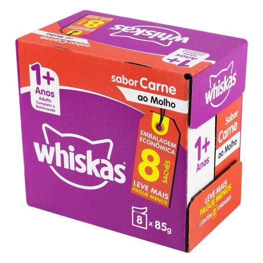 Pack Alimento para Gatos Adultos 1+ Carne ao Molho Whiskas Caixa 680g 8 Unidades Embalagem Econômica Leve Mais Pague Menos - Imagem em destaque