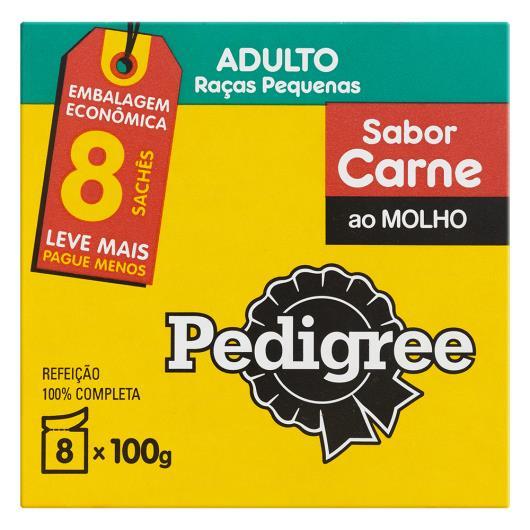 Alimento para cães lv 8 pg 7 Pedigree adulto carne ao molho 8 sachês 800g - Imagem em destaque