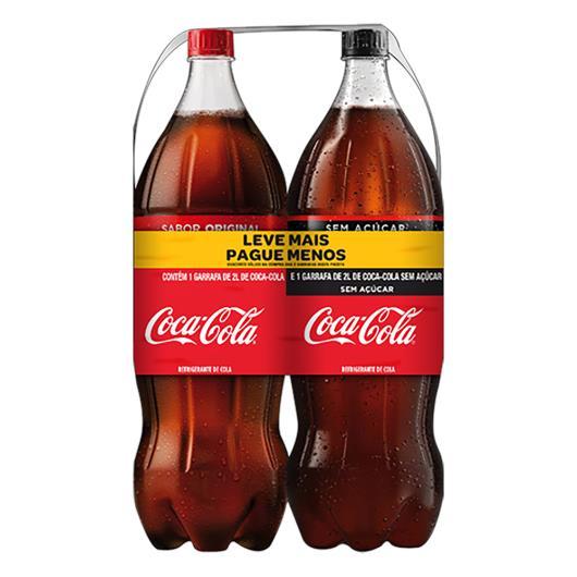 Kit Refrigerante Coca-Cola + Coca-Cola sem Açúcar 2l Cada Leve Mais Pague Menos - Imagem em destaque