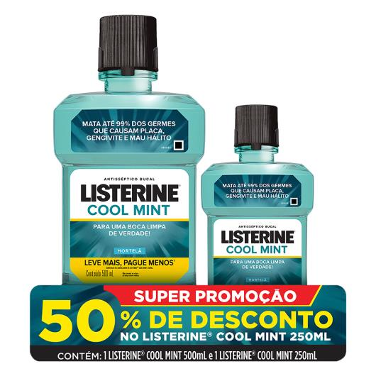 Kit Enxaguante Bucal Antisséptico Hortelã Listerine Cool Mint 500ml Leve Mais Pague Menos Grátis 50% de Desconto Listerine 250ml - Imagem em destaque