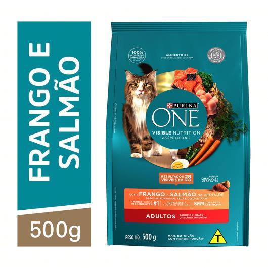 Alimento para Gato adulto Purina One frango e salmão 500g - Imagem em destaque