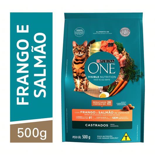 Alimento para Gato castrado Purina One frango e salmão 500g - Imagem em destaque
