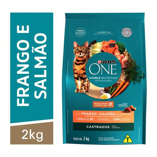 Alimento para Gato castrado Purina One frango e salmão 2kg - Imagem em destaque