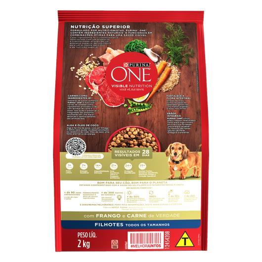 Alimento para Cães filhote para todos tamanhos Purina One frango e carne 2kg - Imagem em destaque