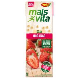 Bebida de soja Yoki mais vita sabor morango 1L