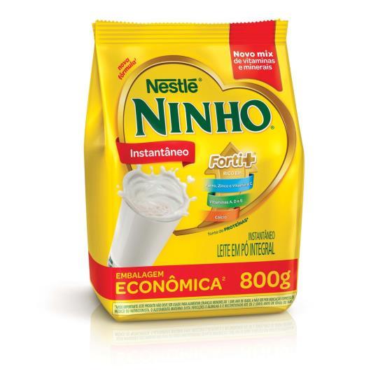 Leite em pó integral instantâneo NINHO Forti+ sachê 800g - Imagem em destaque