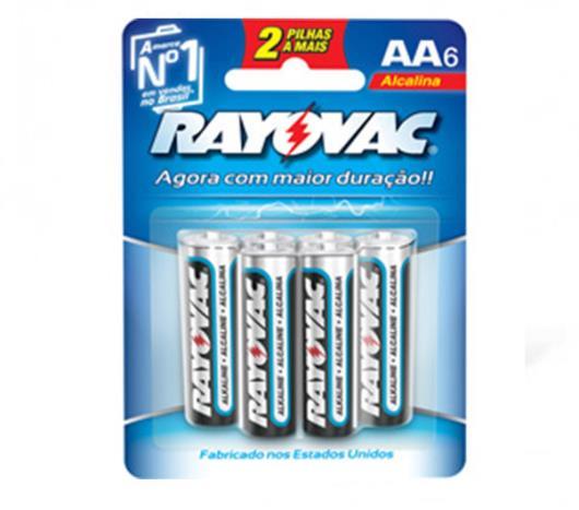 Pilha alcalina pequeno AA gratis 2uns. Rayovac 6uns. - Imagem em destaque