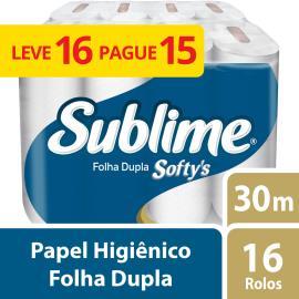 Papel higiênico Softy's neutro 30 metros Leve 16 Pague15