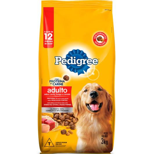Ração para cães Pedigree adultos sabor carne, frango e cereais 3kg - Imagem em destaque