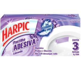 Detergente Harpic sanitário pastilha adesiva lavanda 9g