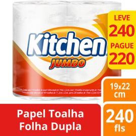 Papel toalha Kitchen Jumbo com 2 rolos