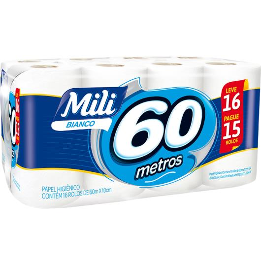 Papel Higiênico Mili Bianco 60m Leve 16 pague 15 - Imagem em destaque