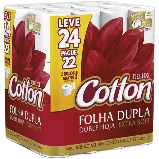 Papel higiênico Cotton neutro e folha dupla  30m leve 24 pague 22 - Imagem em destaque