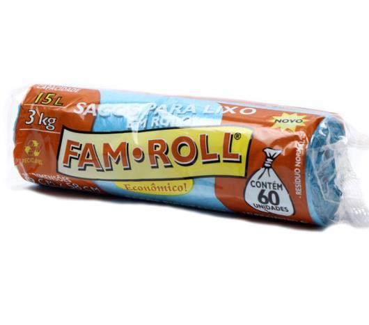 Saco para lixo Fam Roll azul 15L - Imagem em destaque