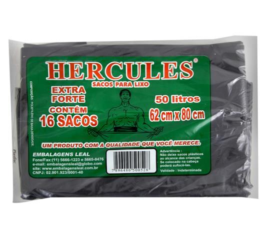 Saco Lixo Hercules Preto Extra Forte 50L - Imagem em destaque