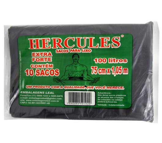 Saco Lixo Hercules Preto Extra Forte 100 Litros - Imagem em destaque