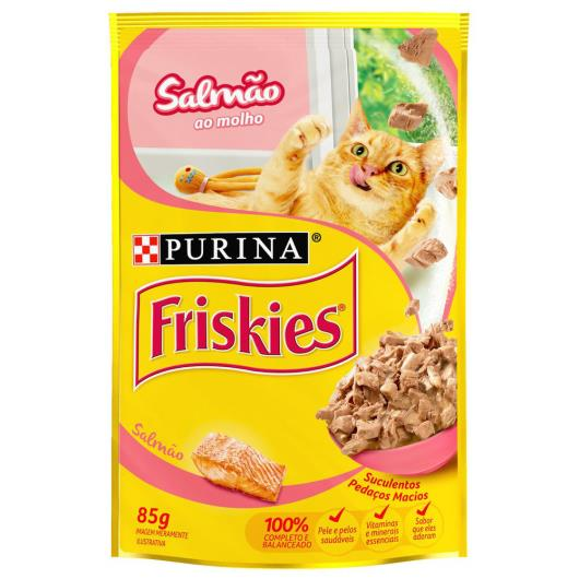 Alimento para gatos Friskies adulto salmão sachê 85g - Imagem em destaque