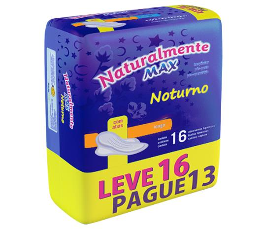 Absorvente Naturalmente max noturno com abas leve 16 pague 13 - Imagem em destaque