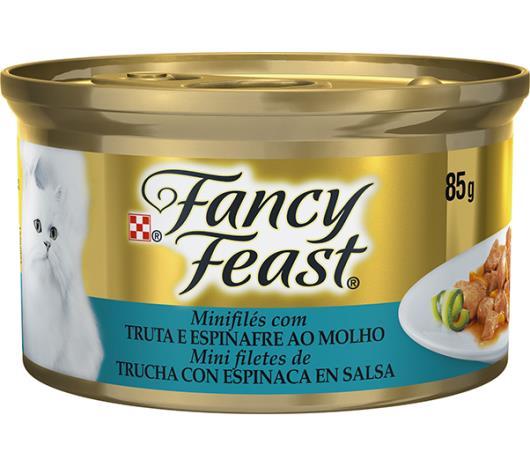 Alimento para gatos Fancy Feast sabor truta e espinafre ao molho 85g - Imagem em destaque