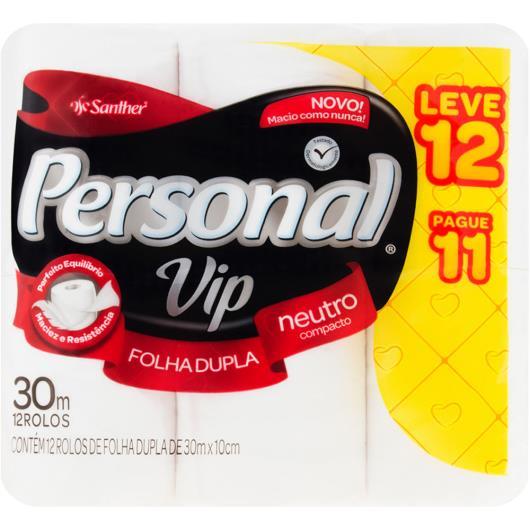 Papel Higiênico Personal Vip folha dupla Neutro 30m Leve 12 e Pague 11 - Imagem em destaque