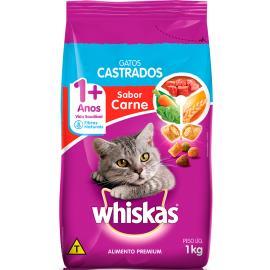 Alimento para gatos castrados Whiskas sabor carne 1Kg