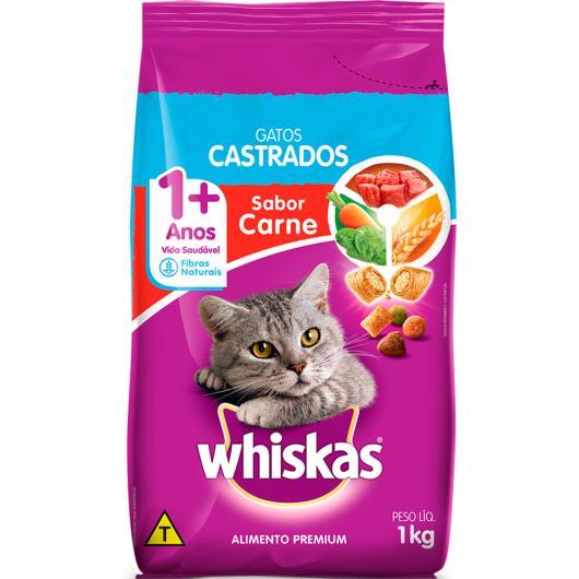 Alimento para gatos castrados Whiskas sabor carne 1Kg - Imagem em destaque