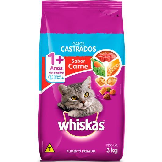 Alimento para gatos castrados Whiskas sabor carne 3Kg - Imagem em destaque