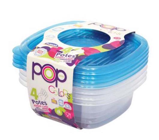 Conjunto de Potes de Plástico Plasútil Quadrados 400ml Pop 4 Unidades - Imagem em destaque