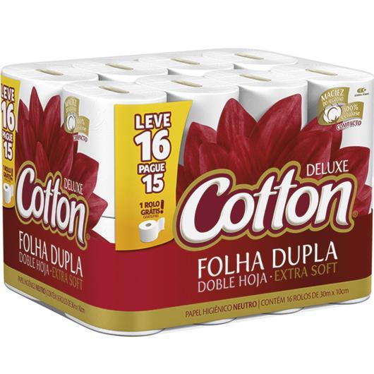 Papel higiênico Cotton deluxe neutro folha dupla 30 metros  Leve 16 Pague 15 - Imagem em destaque