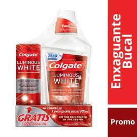 Enxaguante bucal Colgate Luminous white grátis creme dental 70g