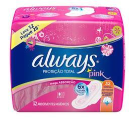 Absorvente Always Proteção Total Suave com abas 32 unidades