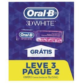 Creme dental Oral B 3d white 3x70g leve 3 pague 2