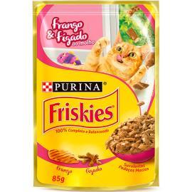 Alimento gatos Friskies frango e fígado molho sachê 85g