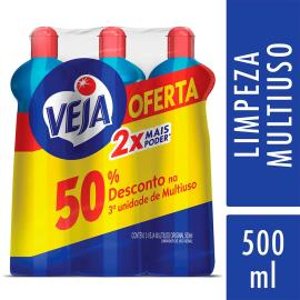 3 Limpadores Veja Multiuso Original 50% de Desconto na 3ª Unidade 500ml