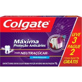 Creme Dental Colgate Máxima Proteção Anticáries + Neutraçúcar 70g Leve 3 Pague 2