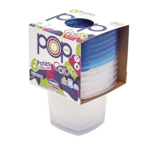 Conjunto Pote Plasutil Pop Quadrado 6 Peças - Imagem em destaque