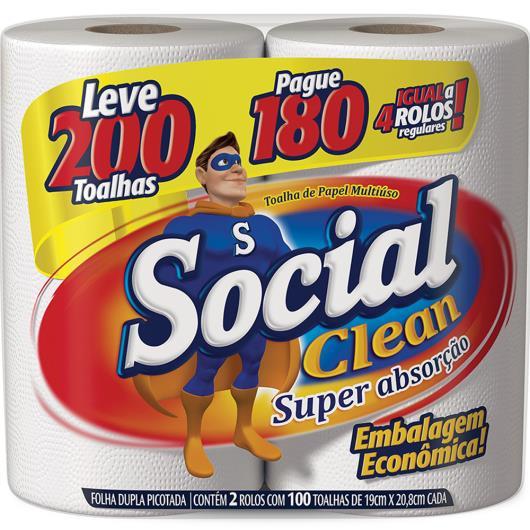 Papel Toalha Social Clean Leve 200 Toalhas Pague 180 - Imagem em destaque