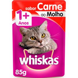 Alimento para gatos Whiskas Carne ao Molho Sachê 1 Ano 85g
