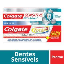 Creme Dental Colgate Sensitive Pró Alívio Real White 110g grátis Creme Dental Colgate Total 12 Clean Mint 90g