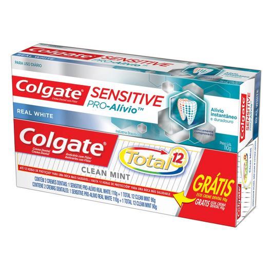 Creme Dental Colgate Sensitive Pró Alívio Real White 110g grátis Creme Dental Colgate Total 12 Clean Mint 90g - Imagem em destaque
