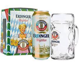 Kit Cerveja Erdinger Weibbier lata + Caneca