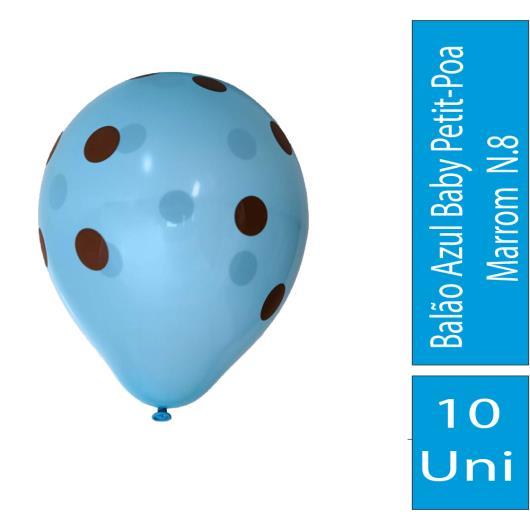 Balão Confesta N.8 Azul Baby Petit-Poa Marrom 10uni - Imagem em destaque
