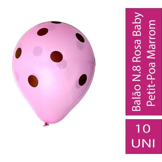 Balão Confesta N.8 Rosa Baby Petit-Poa Marrom - Imagem em destaque