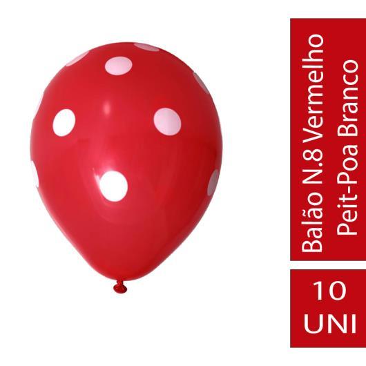 Balão N.8 Vermelho Peit-Poa Branco 10Uni - Imagem em destaque