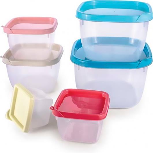 Conjunto de potes plásticos quadrados Conect Plasútil 6 unidades - Imagem em destaque
