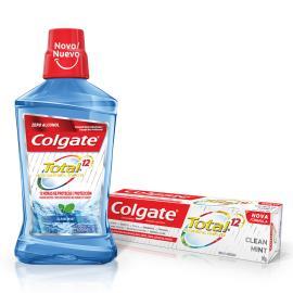 Enxaguante bucal 500ml grátis creme dental Total 12 clean mint 90g Colgate unidade
