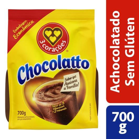 Achocolatado Pó 3 Corações Chocolatto Pacote 700g Embalagem Econômica - Imagem em destaque