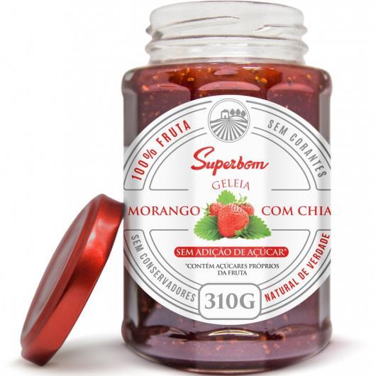 Geleia 100% Fruta Morango com chia Superbom 310g - Imagem em destaque