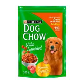 Alimento Cães adulto carne molho Dog Chow sache 100g
