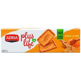 Biscoito Adria Integral Plus Life Aveia e Mel 130g
